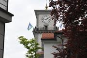 Alphorn-Quintett auf dem Heidler Kirchturm