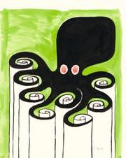 Kuscheltiere spielen in Tomi Ungerers Kinderbücher keine Rolle, dafür Tintenfische oder Schlangen. (Bilder: Sammlung Würth)