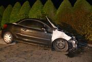 Das ausgebrannte Auto in Pfäffikon. (Bild: Kantonspolizei Schwyz)