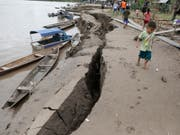 Das Erdbeben in Peru hinterliess sichtbare Spuren. Mindestens zwei Menschen kamen ums Leben. (Bild: KEYSTONE/AP POOL REUTERS/GUADALUPE PARDO)