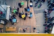 Die Eröffnung des Lattich-Neubaus am Samstag aus einer ungewöhnlichen Perspektive. (Bild: PD/Maurus Hofer - 25. Mai 2019)