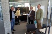 Die Initianten des Coworking Space: Christian Frei, Philipp Klauser, Markus Gehrig und Lista Büro Planer Edi Eugster. (Bild: Michael Hug)