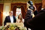 Neue Amtsträger: Vizepräsident Elio Bohner (CH) an der Seite der höchsten Frauenfelderin Severine Hänni (SVP). (Bild: Donato Caspari)