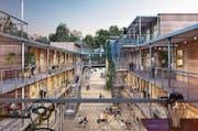 Ein Blick in die «Sägigasse» der geplanten Überbauung im Stadtsägeareal. (Bild: Illustration: PD)