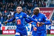 Zwei FCL-Topspieler: Ruben Vargas (links) und Blessing Eleke. (Bild: Martin Meienberger/Freshfocus, Luzern, 12. Mai 2019)