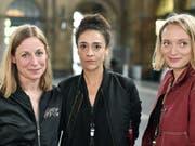 Julia Reichert, Hayat Erdogan und Tine Milz (v.l.n.r.) leiten zusammen die Geschicke am Zürcher Theater Neumarkt ab der Saison 2019/20. (Bild: KEYSTONE/WALTER BIERI)
