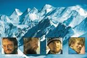 Die Postkarte zur Gasherbrum-II–Besteigung im Jahr 1989, von links: Chris Forster, Toni Fullin, Tino Planzer und Peter Stadler. (Bild: PD)