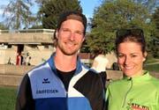 Das OK-Duo für das zweite Wiler Meeting und den Schweizer Masters-Meisterschaften: Philipp Engeler und Martina Gebert (OK-Chefin).