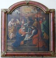 Ein inniger Akt: Maria reicht ihrem Verlobten Josef von Nazareth die Hand. Das Motiv ist heute vergleichsweise selten mehr anzutreffen. Das barocke Gemälde in der Kapelle in der Löberen ist ein schönes Beispiel. (Bild: Stefan Kaiser, Zug, 29. April 2019)