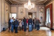 Glanzvoller Salon: Die Teilnehmerinnen und Teilnehmer der öffentlichen HSG-Vorlesung im Musikzimmer des Kirchhoferhauses. (Bild: Michel Canonica)