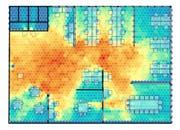 Die Simulation zeigt: Wie viele andere Sitzplätze von verschiedenen Punkten im Raum aus in einer Sitzhöhe von 1,2 m sichtbar sind. Rot bedeutet viele Sitzplätze, blau wenige. (Bild: PD)