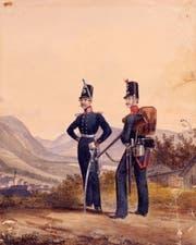 Soldat und Unteroffizier in den schmucken Uniformen des liechtensteinischen Militärkontingents im 19. Jahrhundert. (Bild: Landesarchiv)
