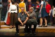 Präsident Pius Bucher und Regisseurin Monika Wanner bei einer Probe der Bunten Bühne Kriens. (Bild: Dominik Wunderli, Kriens, 1. Mai 2019)