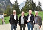 Sie sind an der Versammlung im Obertoggenburg aus ihren Kommissionsämter ausgetreten: Heinrich Vetsch, Roland Zwicker, Stephan Goldinger und Werner Koller (von links). (Bild: Heidy Beyeler)