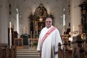 Diakon und Pastoralraumleiter Romeo Zanini in der Pfarrkirche St. Katharina. (Bild: Pius Amrein, Horw, 28. Mai 2019)