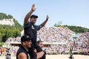 Erich Fankhauser gewinnt 2018 den Brünig-Schwinget nach einer starken Innerschweizer Teamleistung. (Alexandra Wey/Keystone (Brünig-Passhöhe, 29. Juli 2018))