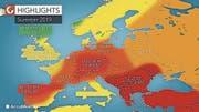 Ohne wissenschaftliche Grundlage: Die Karte des privaten US-Wetterdienst AccuWeather sagt einen heissen Sommer voraus. (Bild: AccuWeather)