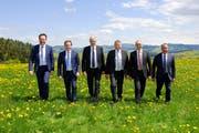 Das neue offizielle Regierungsratsfoto: Ratschreiber Roger Nobs, Yves Noël Balmer, Paul Signer, Landammann Alfred Stricker, Dölf Biasotto und Hansueli Reutegger . (Bild: PD)