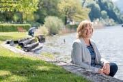 L20-Kandidatin Claudia Röösli im Horwer Winkel. Der Zugang der Horwer zum See ist für sie besonders wichtig. (Bild: Nadia Schärli, 6. Mai 2019)