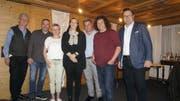 Vorstandsmitglieder: Dieter Sauder (Obmann TGshop), Stefan Büchler (Präsident), Nicole Marbach (Kassierin), Caroline Inauen-Tobler (abtretende Aktuarin), René Bürgi (Beisitzer), Thomas Epple (Vizepräsident) und Patrick Rimle (Beisitzer). (Bild: Vroni Krucker)