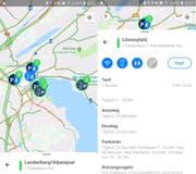 Zwei Screenshots auf Android: Links die Übersichtskarte mit freien Car-Parkplätzen, rechts genauere Angaben zur Haltestelle Löwenplatz. (Bild: Simon Mathis, 6. Mai 2019)