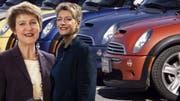 Zuwachs bei der Mini-Fraktion: Neben Simonetta Sommaruga (SP) setzt auch Karin Keller-Sutter (FDP) auf einen Mini. (Bild: Keystone/ Montage: mwa)