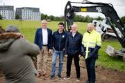 ESAF 2019: Baustart zum Eidgenössischen Schwingfest Zug. Im Bild: Heinz Tännler, Walter Lötscher, Thomas Huwyler und Harry Knüsel. Von links nach rechts. Bild: Stefan Kaiser (Zug, 06. Mai 2019)