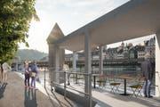So stellen sich die Initianten des Veloparkings unter der Reuss das Ufer an der Bahnhofstrasse künftig vor. Im Betonkubus fänden Lift und Treppen von und zum Veloparking Platz. (Visualisierung: PD)
