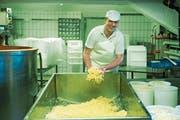 Walter Grob bei der Produktion von «Cheese-Curds». Die Streifen aus jungem Käse stehen am Anfang der Cheddar-Produktion. (Bild: Dominik Wunderli, Engelberg, 25. April 2019)