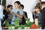 Mit grossem Interesse begutachten die Kinder das Gemüse des «Buuregarte» in Hünenberg. (Bild: Charly Keiser, Zug, 7. Mai 2019)