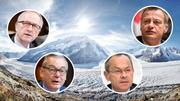Peter Hegglin (CVP), Olivier Français (FDP), Martin Landolt (BDP) und Ruedi Noser (FDP) wollen jetzt die Gletscher retten. (Bild: Getty Images/Keystone/EQ Images/Montage CH-Media)