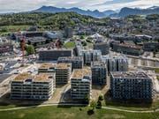 Blick auf das Gebiet Luzern Süd, in dem viele neue Überbauungen entstehen. (Bilder: Pius Amrein, Kriens, 25. April 2019)