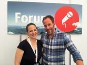 Die beiden Forum-Moderatoren Debbie Frank und Chregu Graf. (Bild: Fabienne Mühlemann/Luzerner Zeitung, 1. Juni 2019)