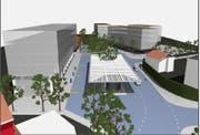 So soll der Bahnhofplatz dereinst aussehen. (Visualisierung: PD)