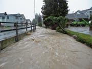 Land unter in Zuzwil: Eine solche Überschwemmung will die Gemeinde mithilfe des Sanierungsprojekts künftig verhindern. (Bild: PD)