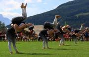 Die Grabser Gymnastiktruppe wird in Aarau vor einer weitaus grösseren Kulisse antreten als vor Jahresfrist an den Kantonalen Meisterschaften im Vereinsturnen. (Bild: Robert Kucera, Grabs, 9. Juni 2018)