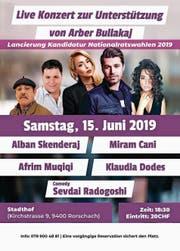 Flyer für das Fest mit albanischen Popstars in Rorschach, offizielles Porträt des Wiler SP-Politikers: Arber Bullakaj. (Bild: PD/)