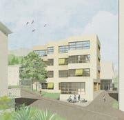 So könnte der Neubau des Schulhauses Hofmatt 4 (Westansicht) in Oberägeri dereinst aussehen. Die Visualisierung rechts zeigt den Blick in den Garderobenbereich. (Visualisierung: PD)