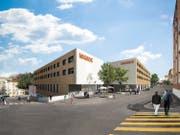 Projekt Neubau Migros Herisau, von der Oberdorfstrasse her gesehen mit den Aussenplätzen des Restaurants. (Visualisierung: Genossenschaft Migros Ostschweiz)