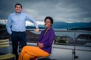 Freuen sich über den Prix Caritas: São-Martinho-Direktor Frei Adailson und Koordinatorin Lucimar Correa. (Bild: Boris Bürgisser,Luzern, 11. Juni 2019)
