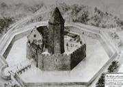 Romantische Rekonstruktion der Burg Eguisheim (Bild: Jahrbuch der Historischen Gesellschaft Luzern)