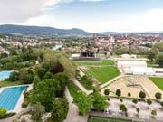 Das Gelände des Turnfests in Aarau: Die Aufbauarbeiten sind in vollem Gange. (Bild: Keystone/Urs Flüeler)