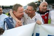 Wird zum FCL-Retter: Trainer Rolf Fringer (links). (Bild: Philipp Schmidli).