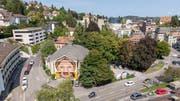 Blick ins Areal am Platztor. Hier will der Kanton den neuen Campus für die Universität St.Gallen bauen. (Bild: Urs Bucher - 28. August 2018)