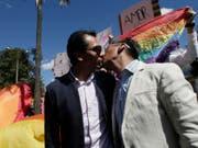 Jubel unter Homosexuellen: Das Verfassungsgericht in Ecuador hat am Mittwoch die Ehe zwischen zwei Personen des gleichen Geschlechts gutgeheissen. (Bild: KEYSTONE/AP/DOLORES OCHOA)
