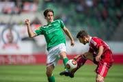 Marco Mathys (links) gehörte beim FC St.Gallen jener Mannschaft an, die in der Europa League Furore machte. (Bild: Urs Bucher)