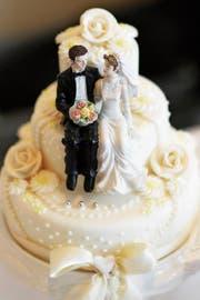 Hochzeitstorte an einer früheren Hochzeitsmesse in Luzern.