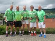 Aufstieg in die NLC geschafft: Röbi Frei, Kurt Wiederkehr, Werner Staub, Peter Ruf und Guido Eigenmann (von links). (Bild: PD)