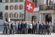 Die Kreiskommandanten der Schweiz sowie viele militärische Ehrengäste und Politiker tagten im Urner Landratssaal. (Bild: Paul Gwerder, Altdorf, 14. Juni 2019)