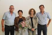 Sie wurden für ihre langjährige Arbeit in Gemeindeverwaltungen geehrt; von links: Markus Herger, Trudy Muther, Ursula Muheim und Markus Christen. (Bild: Paul Gwerder, Bauen, 13. Juni 2019)